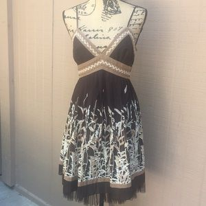 Sz 10 P BCBGMaxAzria Brown Summer Dress EUC